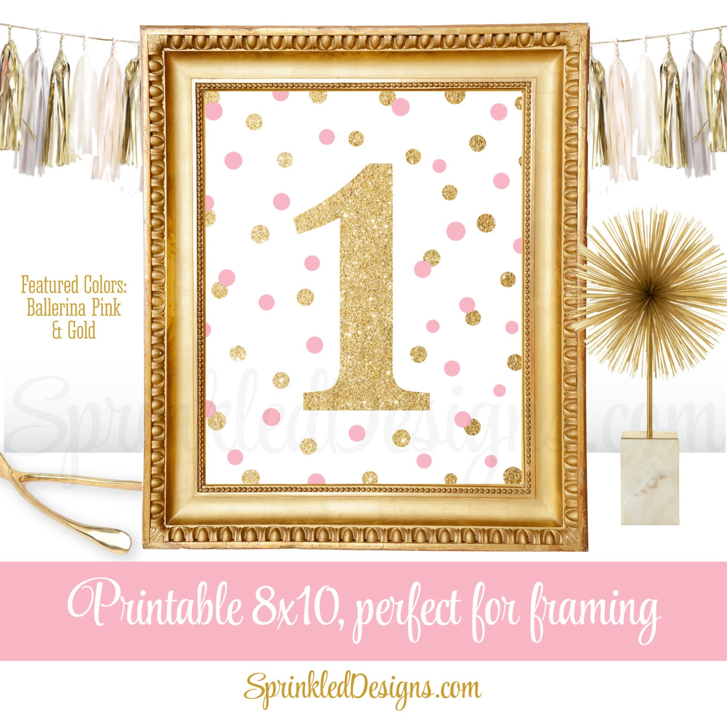 First Birthday Party Sign Big e 1 Ballerina Pink Gold