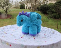 Crochet Dinosaur Stuffed Animal, Amamani Puzzle Ball, Made to Order, Your Choice of Two Colors