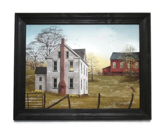 Billy Jacobs Print, Morning Has Broken, Country Home Decor,  Farmhouse Decor, Primitive, Handmade, 28X22, Custom Wood Frame, Made in the USA