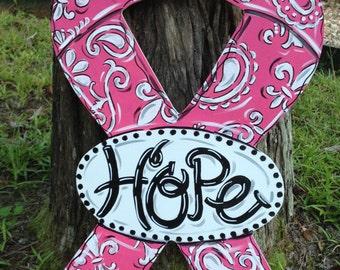 Awareness Ribbon Door Hanger, Cancer, Support Troops