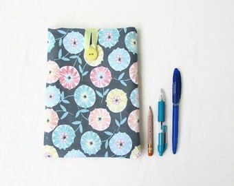 IPad Mini case, grey flower fabric, handmade in the UK