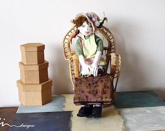 OOAK Pippi Longstocking the little Swedish girl art cloth doll