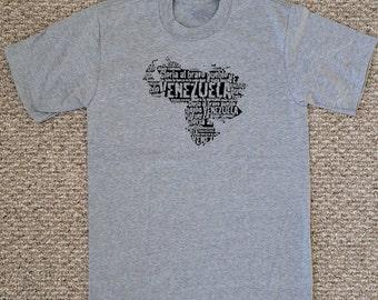 Venezuelan Map - adult short sleeve screen printed T-Shirt