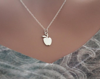 Sterling Silver Apple Cutout Necklace, Apple Necklace, Apple Necklace for Teacher, Gift for Teacher, Fruit Lover Necklace, Health Necklace