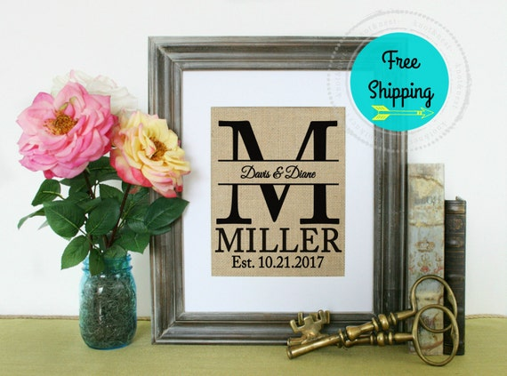 Wedding Gifts For Active Couples :  Wedding Gift Initial Anniversary Gift Wedding Date Couple ...