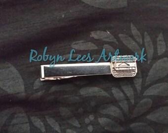 Small Silver Typewriter Writer's Tie Clip, Poet Tie Bar