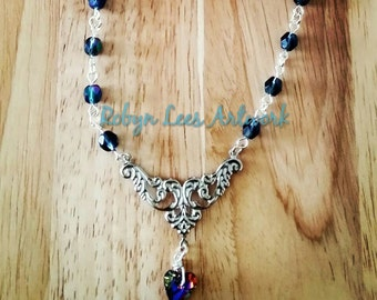 Blue Volcano Swarovski Crystal Heart Necklace With Silver Filigree Stamping and Czech Glass Beads