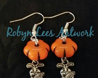 Easter Bunny Rabbit with Carrot Earrings with Orange Pumpkin Beads