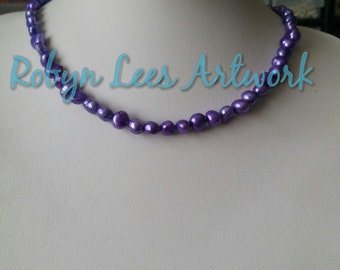 Freshwater Pearl Plum Purple Beaded Necklace, Odd Shaped Pearls