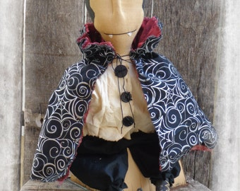 Primitive Dracula Vampire Halloween Folk Art Doll, Shelf Sitter, Door Greeter, OFG FAAP