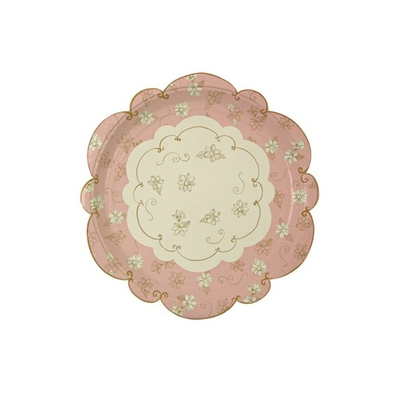 pink gold paper plates by meri meri love in the afternoon. Black Bedroom Furniture Sets. Home Design Ideas