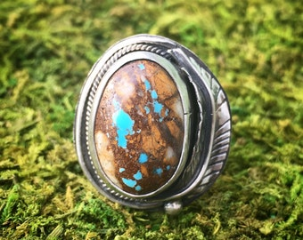 Medium Royston Ribbon Turquoise and Sterling Silver Handmade Ring with Feather and Floral Band - Size 5.5