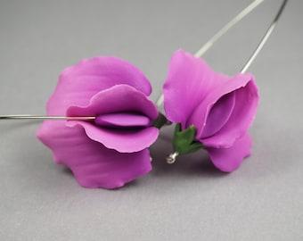 Pink sweet peas - handmade polymer clay earrings - polymer clay jewellery - floral earrings