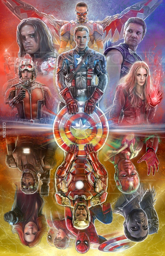 Captain America Civil War (mirrored collage) 11X17 ART PRINT