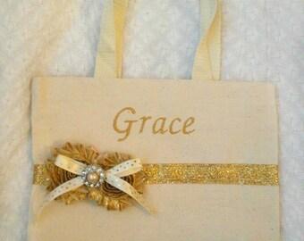 Flower Girl Gift, Flower Girl Purse, Flower Girl Tote, Gold