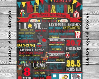 "Circus/Carnival Birthday Stat ""Chalk board"" (Digital Poster)"