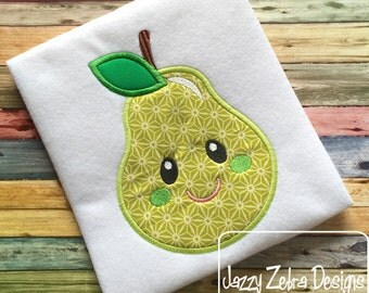Pear with Face 104 Appliqué embroidery Design - pear appliqué design - fruit appliqué design