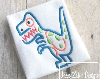 Dinosaur 5 Satin Stitch Outline Embroidery Design - Dino embroidery design - dinosaur embroidery design