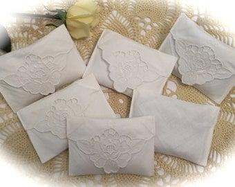 Feminine Lavender Sachet - Repurposed Vintage Linens - Embroidered Cutwork Napkin
