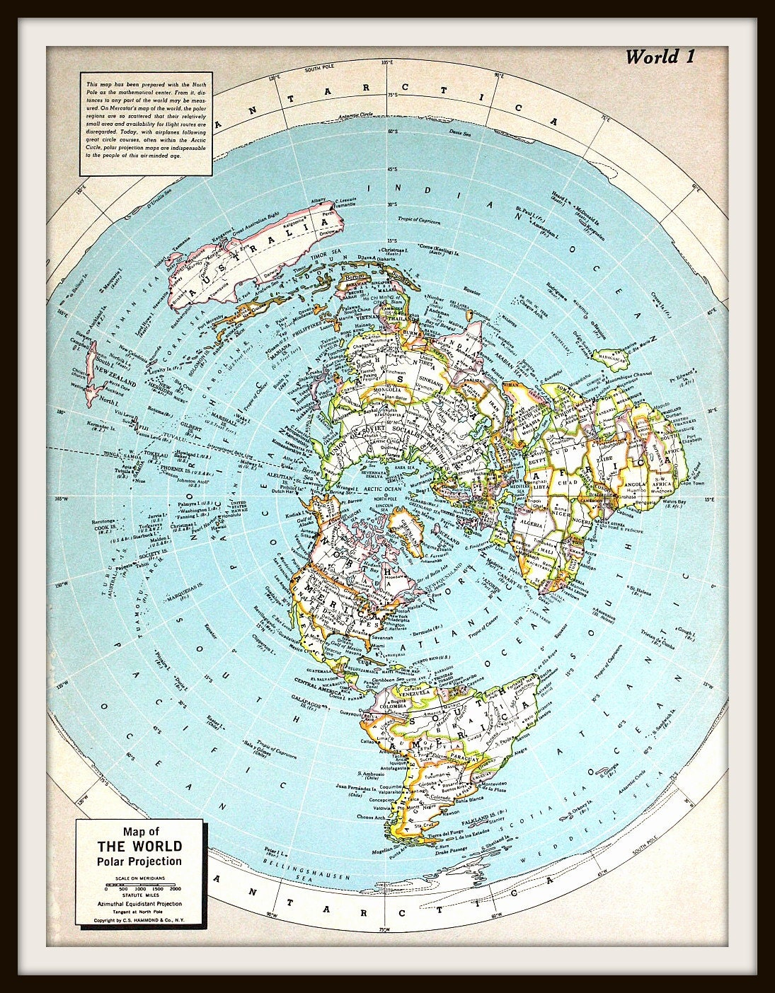 Vintage World Map Large 12 x 9 Art Print Centered at the
