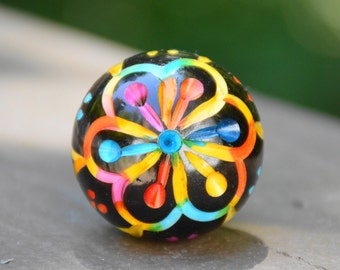 Resin round rainbow flower cabinet knob/drawer pull/colorful/unique/decorative furniture hardware/red/blue/yellow/purple/orange/teal/green
