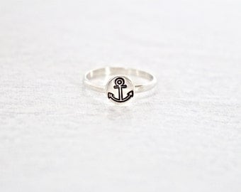 Sterling Silver Anchor Ring.   Simple, everyday wear ring.  Nautical Ring