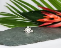 Silver Sunflower Ring set of 10