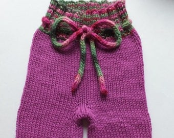 Hand Knitted Wool Longies, Wool Diaper Cover, Wool Baby Pants, Girly Pants, Girly Longies, Hand Knitted Pants, 3-9 months