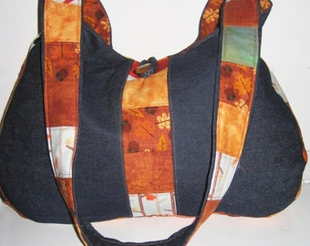 Denim shoulderbag, Blue denim purse, with fall color decoration,  quilted fall bag