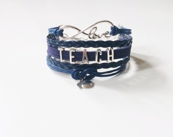 Love Infinity TEACH Apple Navy Blue Cord Bracelet