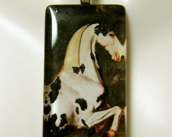 Black and white horse pendant and chain - HGP02-026
