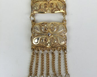 gold articulated baroque pendant w/ tassels chain necklace 60s