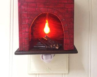 Faux Brick Fireplace Nightlight, Wooden Nightlight, Custom Nightlight, Unique Lighting