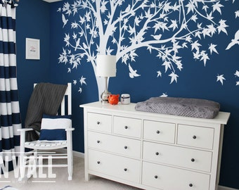 Large White Family Tree  mural, nursery vinyl  wall decal, tree wall decal, Vinyl Wall  bird stickers - K024B