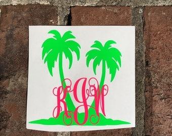 Monogram Initial Palm Tree Yeti Decal | Car Decal | Mac Book Decal | Laptop Decal