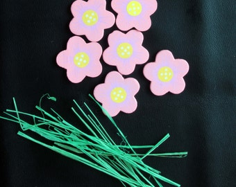 6 Pink Wood Floral Flower  Embellishments with Green Paper Stems