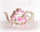 Miniature Porcelain Teapot, June Pink Birthstone,  Vintage Hand painted,  Pink Roses Teapot,  Figurine, Collectible
