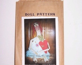 Primitive Raggedy Annie Doll Pattern, Doll Heart Ornie Pattern M1230, Sewing Craft Pattern