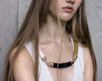 ORION celestial rope necklace in golden,dark blue and white colours.statement necklace, rope necklace, bold jewelry, minimalist, geometrical