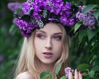 Ready to ship * Floral headband, headpiece with flowers * spring, fairy tale, romantic, bridal, lilac, violet, purple