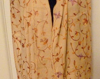 Vintage 80s  Indian Crewel Wool Shawl Wrap Scarf Camel with Rust and Mauve
