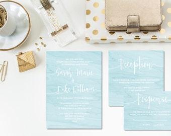 Light Blue Watercolor Wedding Invitation Set