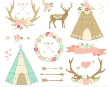 "Floral Tribal Clipart  ""TRIBAL CLIPART"" Floral Teepee, Floral Arrows, Tribal Border, Arrows, Floral Antler, Antlers, Floral Wreath, Deer"