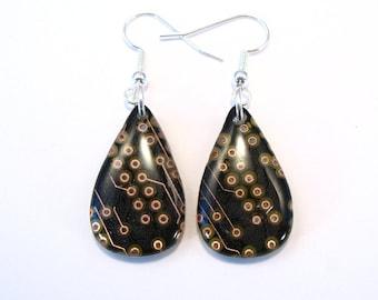 Recycled Copper & Black Circuit Board Teardrop Earrings - Geek Earrings - Computer Earrings - 25mm x 15mm