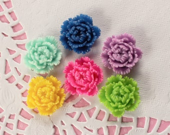 6 Pcs Assorted Intricate Peony Flower Cabochons - 24x24mm