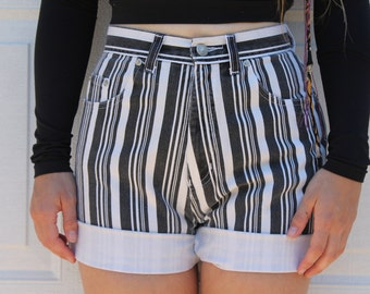 Vintage Women's High Waisted Shorts // Black & White Striped // Faded 90s Grunge // By Sostanza Contemporary Apparel
