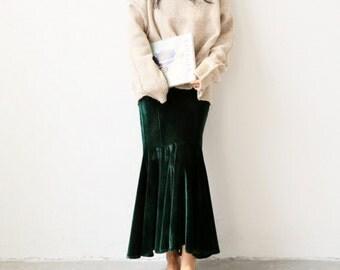 La Chic Parisienne Collection Emerald dark green/black velvet long mermaid skirt /creamy sweater