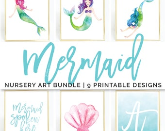 Mermaid Art Print / Printable Wall Art / Nursery Art Set / Watercolor Print / Baby Girl Nursery / Childrens Wall Art Digital