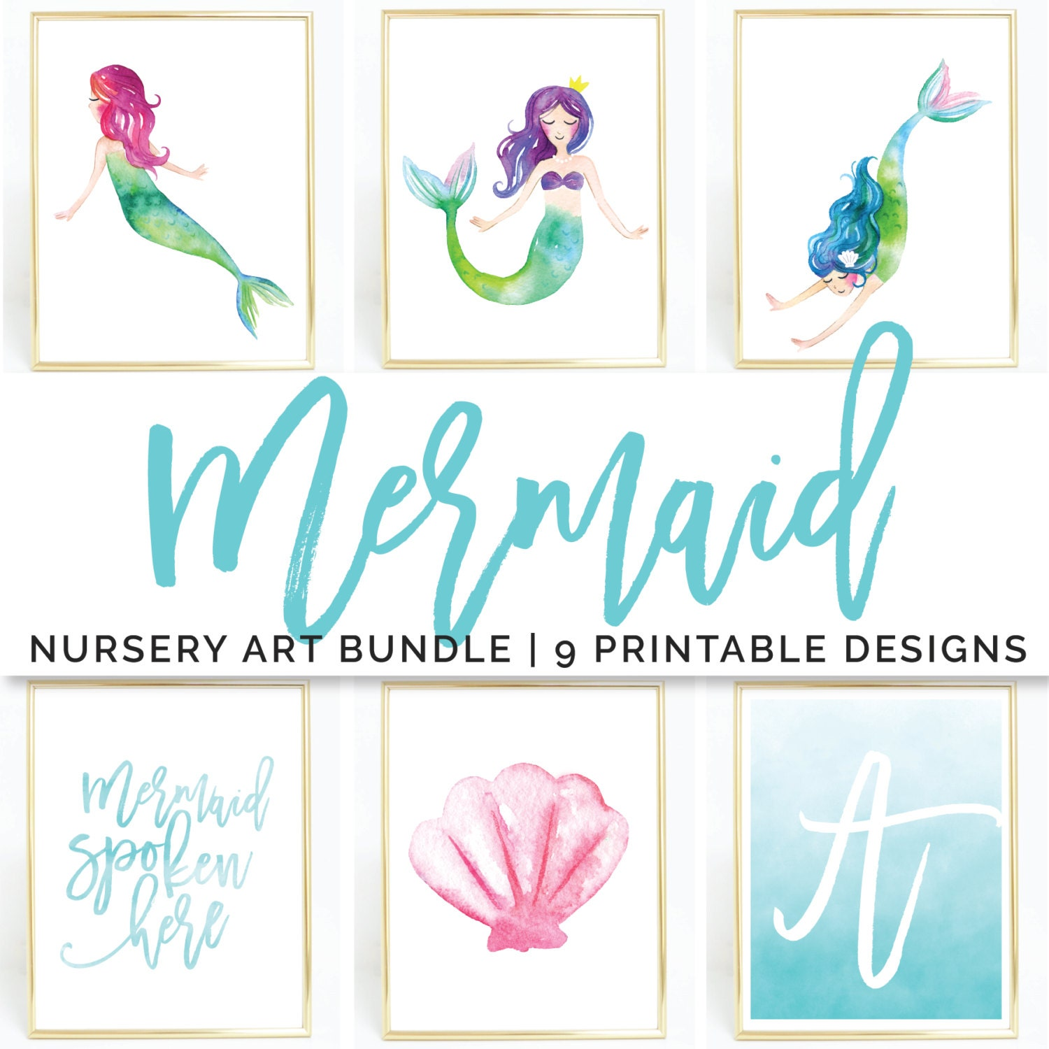 Mermaid Gifts Mermaid Decor Mermaid Art Print Mother S: Mermaid Art Print / Printable Wall Art / Nursery Art Set