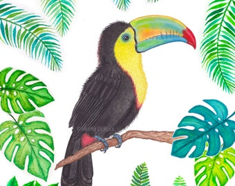 Toucan painting art print, tropical bird wall art decor, Toucan watercolor painting, bird tropical wall art, watercolor bird illustration.